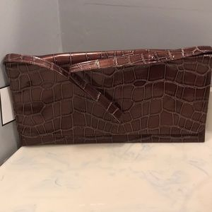 Braciano Envelope Faux Leather Brown Clutch New